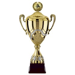 Trophée coupe prestige colonne or bol or avec poignées et couvercle orné