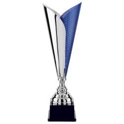 Trophée coupe prestige cône argent et bleu façon maille