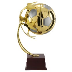 Trophée coupe luxe métal or sport football style suspendu
