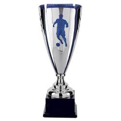 Trophée coupe luxe métal sport argent 2 faces ballon/joueurs